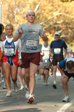 Running the New York City Marathon.