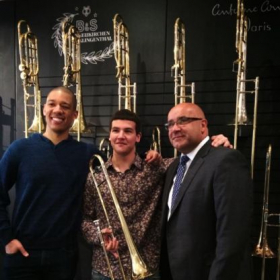 Receiving my new trombone from Antoine Courtois.  I am now a recognized Young Artist (1 of only 3 in the world) for the organization.
