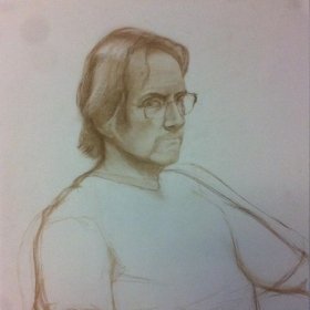 Drawing of Scott Noel, conte on paper