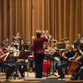 Playing principal second violin in a reading with conductor, Marin Alsop, at CIM.