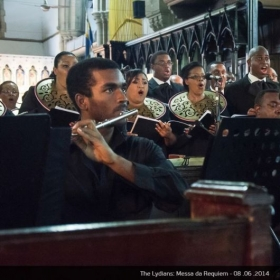 Performing on the flute with the Lydians Choir (2014).