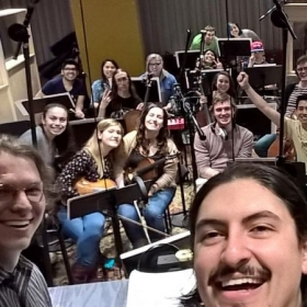 My last group recording session at Berklee.  (Missing: One half of the ensemble, due to cropping.)
