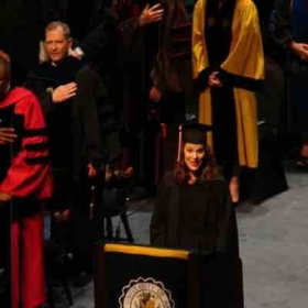 Singing during the commencement ceremonies!