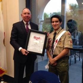 Recognition Award- Recognition from the Californian State Senate for showing discipline, honoring the Scout Law, and saving another scout.
