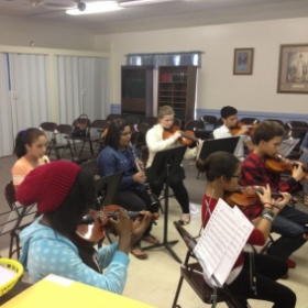 Chamber orchestra rehearsal