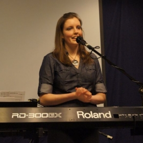 Performing my original music in winter 2011.