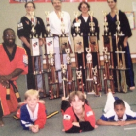 Coach GrandMasterGriffin and the griffin martial arts Team Kick tournament team  Diamonds National Karate Championship Winners