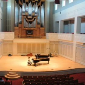 Performing in Auer Hall at Indiana School of Music