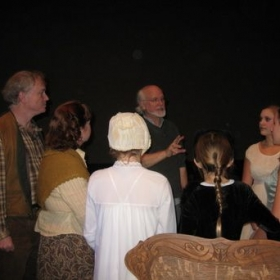 "Palace of Fine Arts, backstage, Opening Night of ""The Woman Who Flummoxed the Fairies"" by Claudia Aron (In the shawl)"