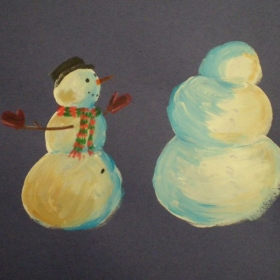 Grade 3 - tinted snowman paintings - Literacy connection