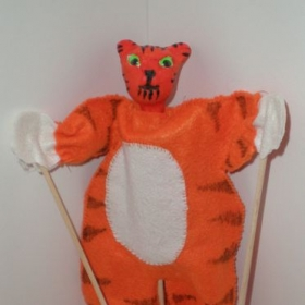 Grade 4 - animal rod puppets, clay, paint, and sewing.