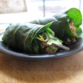 Pecan Pate Collard Green Wraps