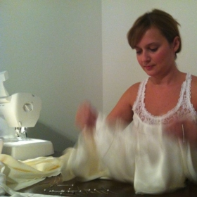 """Enjoying the late night sewing, preparing for """"Fabric to Fit"""" runway show."""