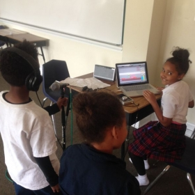 Music Production Class at ISL Olivier Elementary School in New Orleans.