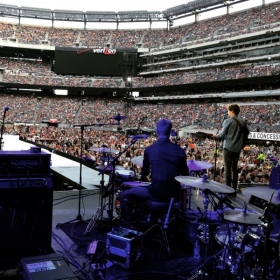 Playing Drums for Vance Joy at MetLife Stadium opening for Taylor Swift.