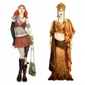 Watercolor Renderings of my Costume Designs