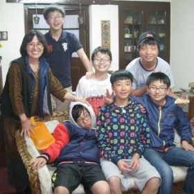 With my Korean Students at my home in India