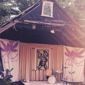 A beautiful stage setup for my violin and drum duo READ at the Bread and Puppet Theater in Glover, VT. A magical place indeed.
