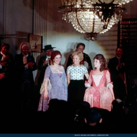 """!776"" White House performance, Broadway Cast.  With Virginia Vestoff, Pat Nixon, Mary Bracken Phillips"