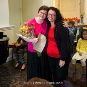 Parkhouse staff giving me flowers on farewell recital
