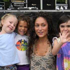 Talking with some young inspired fans after one of Lilla's shows.