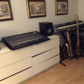 My studio for in house students 24 track mixer,krk monitors 88 weighted keyboards.Tenor sax.