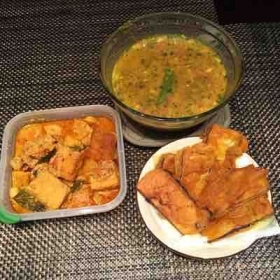 """Eastern India Bengali Special"" : Dokhar Dalna, chana Dal and Fried eggplant diped in gramflour"