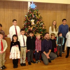Christmas Recital 2015, group photo with students and myself (center).