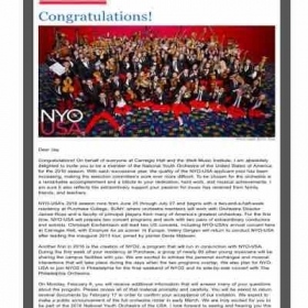2016 NATIONAL YOUTH ORCHESTRA CARNEGIE HALL