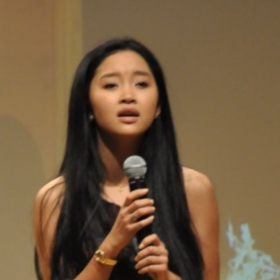Lana Condor performing at VAS showcase