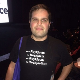 "Polyglot Conference October 2015, New York City. T-Shirt showing Icelandic declensions of the word ""Reykjavik""."