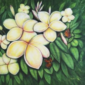 "2015 Plumeria Commission 40 x 60"" Acrylic on Canvas"