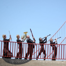 with my quintet, The Avenue Winds, near the Golden Gate Bridge