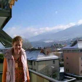 Enjoying the Alps from the balcony