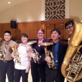 Chien-Kai Wang Senior Recital Picture Spring 2014 - With Kenton Kuwada, Kelli Self, Kelly Hesterberg, and Johnathan Hsu