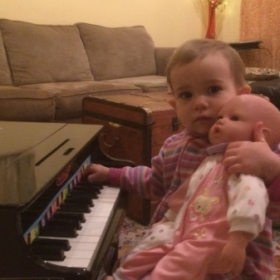Okay, technically she's my not my student YET, but she loves her piano!