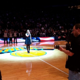 Leigh performing the National Anthem at a New York Knicks game at Madison Square Garden