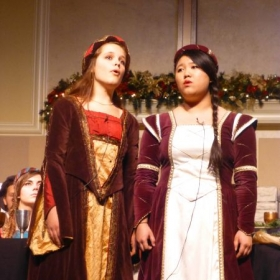 Performing an art song duet with soprano, Ashlyn Barbieri at a Madrigal Dinner. Circa December 2013; Ye olden days!