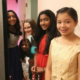 Students waiting back stage at Christmas performance at Air Force Village West 2014