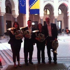 The 2013-2014 Sarajevo Philharmonic Horns at the reopening of Vijećnica, the National Library in Sarajevo, on May 9, 2014.