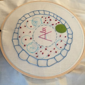 One of my beginning embroidery student's work after a 3 hour class.