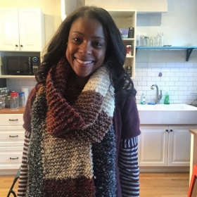 One of my beginning knitting students. She finished this after one 2 hour lesson and was back to learn more!