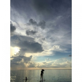This is me paddle boarding when I was in Guam :-)