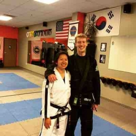 Me and my old taekwondo instructor, after five years of not seeing each other.