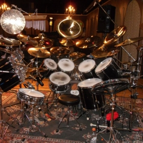 My Drumset set up at a Drum Recital.