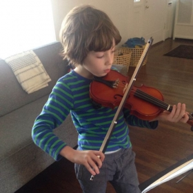 One of my violin students practicing at home.