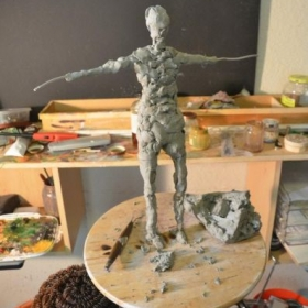 Sculpting the figure in Clay - wore Armature