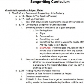 Snapshot of songwriting curriculum I've developed from all my reading on the subject and experience as a signed songwriter.