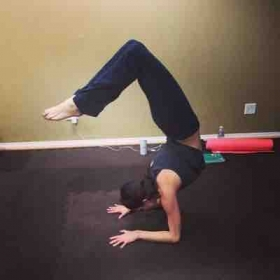 Play time! Still working toward that scorpion! Always prioritize fun in your yoga journey!