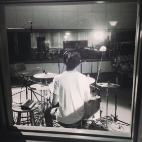 Recording drums at a beautiful studio in New Orleans.